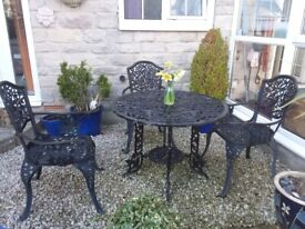 Vintage Black Cast Iron Bistro Set and chairs