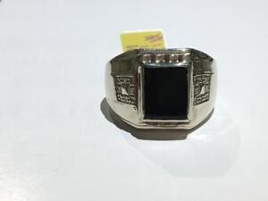 #1370 10K MENS BLACK ONYX DIAMOND RING. SIZE 10. **JUST BACK FROM APPRAISAL $2550 SELLING FOR ONLY $850**