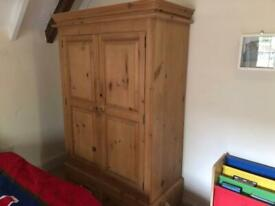 Lovely waxed pine wardrobe with pine shelves inside