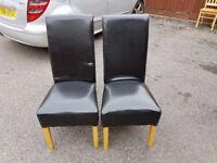 2 BLACK High Scroll Back Leather Chairs FREE DELIVERY 639