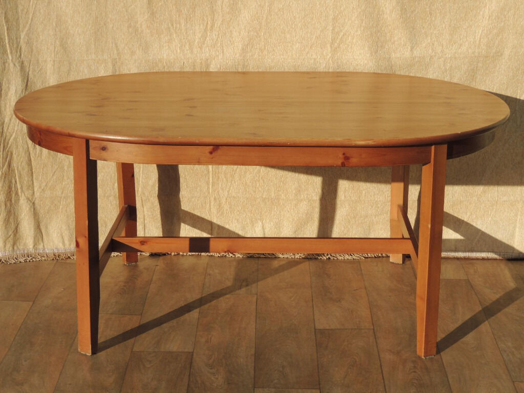 Cheap wooden oval table (Deliveryin Lewisham, LondonGumtree - Leksvik Dining Table (Size 167cm L; 110 cm W; 75cm H); Made of solid pine wood throughout; Straight legs with middle panel support; Oval shape table offers generous 6 seater option for any dining room or kitchen; Strong and durable; However table has...