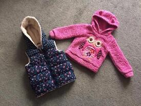 Padded jumper and fur lined gilet age 2-3