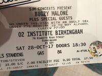 X2 Bugzy Malone tickets,STANDING, Birmingham. 28/10/2017