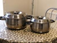 Pair of stainless steel pans