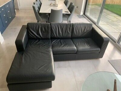 Black Leather Chaise Sofa Bed With Pull Out Metal Frame