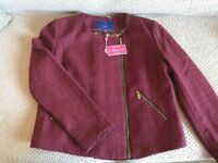 Ness claret 'biker style' jacket (size 14) - Brand new with tags