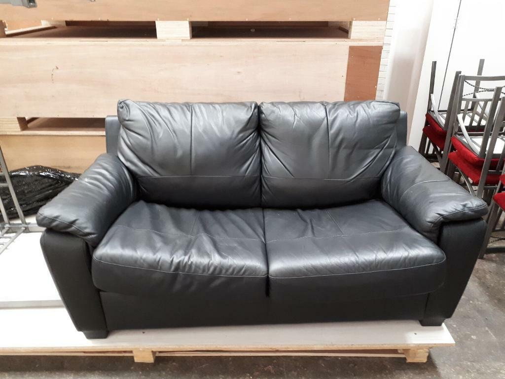 Black Leather 2 Seater Sofa Bed