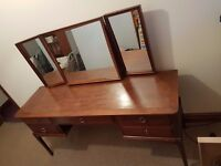 Stag Minstrel Dressing Table with Three Way Mirror & Matching Stool