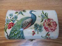 handmade wooden jewellery box - decoupage flowers and peacock