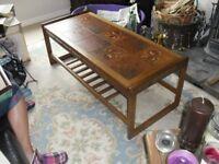"Brown Tile Top Teak Coffee Table, 1.17m(46"") L x 0.51m(20"")W x 0.42m(16.5"")H"
