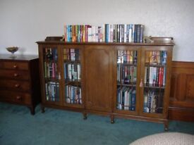 Large oak bookcase with two glazed sections and one cupboard