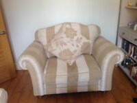 Beautiful Cream and Gold Snuggle Chair.