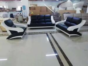 Lord Selkirk Furniture - Mia - 3PC Sofa, Loveseat and Chair in Leather Gel Black and White or Black - $1899.00