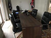 Job lot of desk, table and 5 chairs