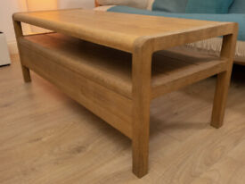 Habitat Solid Oak Radius Coffee Table + Bookshelf