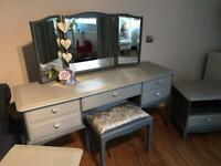 Stag Dressing Table Stool and Two Cabinets
