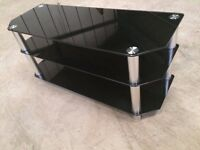 TV stand unit in tempered glass black - large - 3 shelves