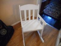 childs white ikea sundrik rocking chair