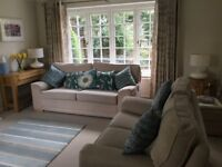 Marks and Spencer Beige 3 Piece Suite - 3 seater, 2 Seater, Armchair and Footstool
