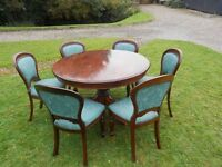 4 Foot Round Table With Pedestal Base +6 Balloon Back Beautiful Upholstered Chairs