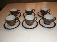 Vintage Denby Marrakesh 1st quality 6 tea cups and 6 saucers – as new (set 1 of 2)