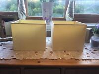 Little square cream lamp shades