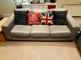 IKEA grey leather sofa and chair