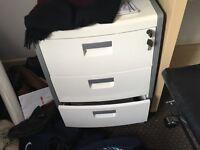 White Three draw filing cabinet