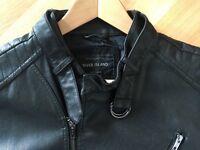 River Island Leather-look collarless biker jacket (Black, Large)