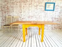Farmhouse Tapered Leg Extending Dining Table to Seat Eight People - Modern Rustic Style