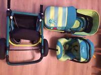 Adjustable pram/car seat