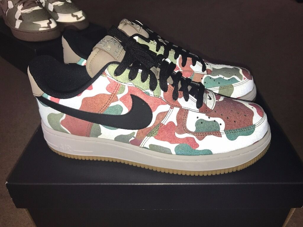 NIKE AIR FORCE 1 07 LV8 - 3M Reflective DUCK CAMO UK SIZE 6.5