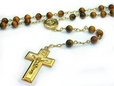 SALE!   Tiger's eye classic Catholic Gold Rosary / 27 inch round / 14K GF Rosary