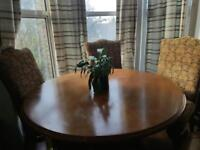 Dining table with 4 brocade upholstery chairs