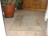 Light green and beige multi patterned rug 80 x 150cms