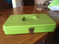 Green plastic Wilson sewing box circa 1970
