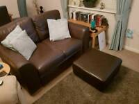 Brown Leather Sofa and Matching Foot Stool