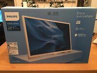 "Brand New Phillips Ultra Slim 24"" LED HD TV/Monitor in White"