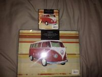 VW Campervan placemats (x6) and Coasters (x6) (Brand New)