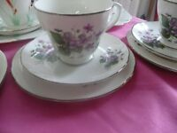 VINTAGE CUPS SAUCERS SIDE PLATES IDEAL FOR WEDDINGS AFTERNOON TEAS ETC