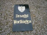 ORIGINAL WORTHINGTONS BEER WALL SIGN, ON VERY HEAVY THICK SLATE