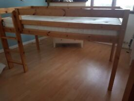 Pine mid sleeper bed with mattress