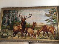 Vintage carpet tapestry framed rug with stags