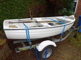 grp 12ft clinker style rowing boat fishing trailer