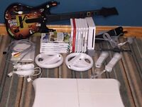Wii Games Console + Games + WiiFit + Guitar