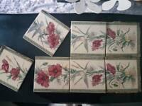 Set of 7 fireplace tiles