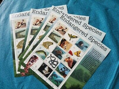 4 Sheets of 15 ENDANGERED SPECIES Snakes Manatee Panther 60 Stamps MINT NH