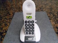 Large Button Digital Cordless White Telephone