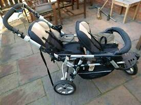 Jane Powertwin double buggy together with strata baby car seats and isofix bases