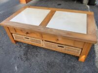 Used solid wood coffee table with storage drawers